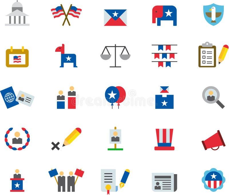 Iconos planos coloreados de las ELECCIONES PRESIDENCIALES de los E.E.U.U. libre illustration
