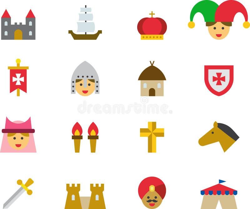 Iconos planos coloreados MEDIEVALES stock de ilustración