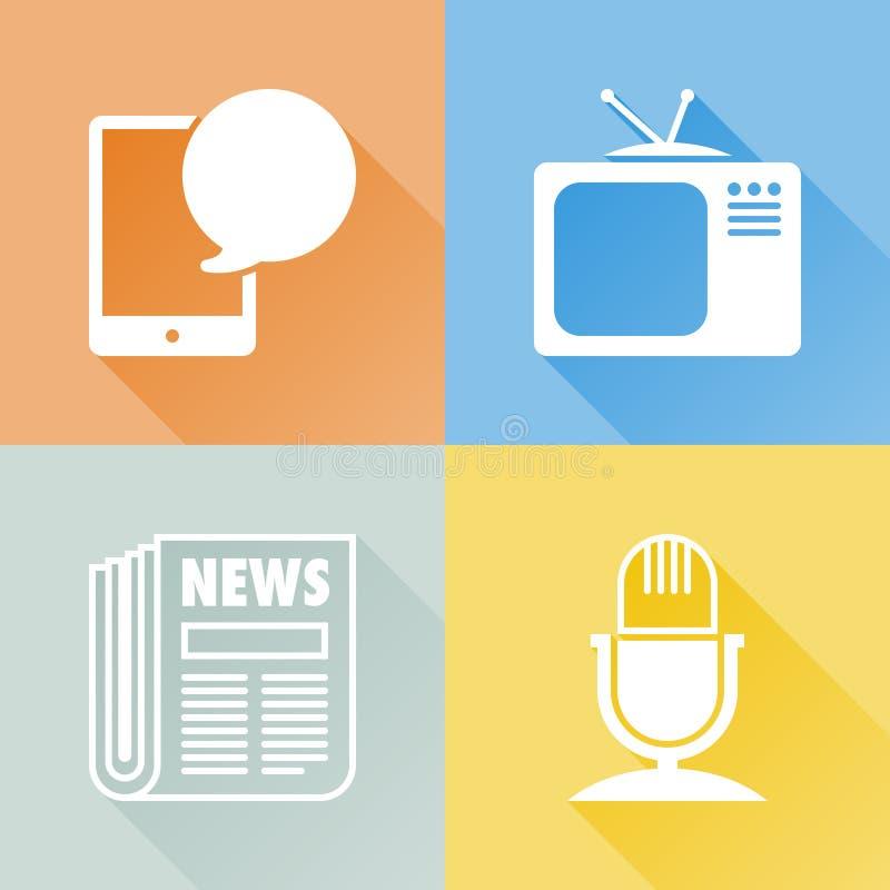 Iconos planos coloridos de la comunicación ilustración del vector