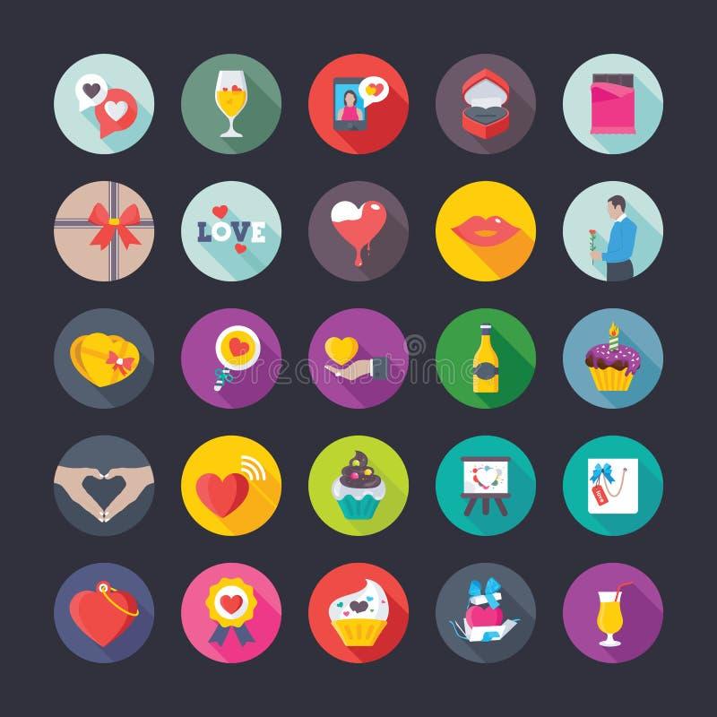 Iconos planos coloridos fijados de amor y de tarjeta del día de San Valentín ilustración del vector