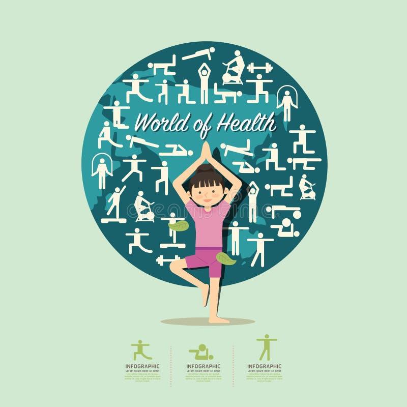 Iconos planos con el diseño de carácter de la muchacha de la yoga infographic, salud stock de ilustración