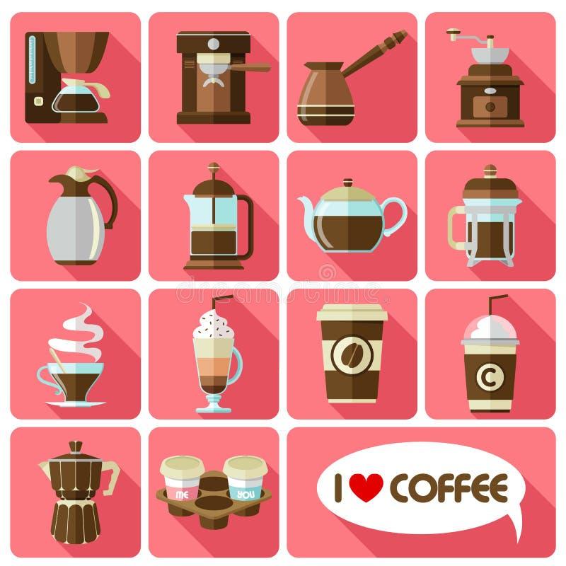 Iconos planos con la sombra larga del café ilustración del vector