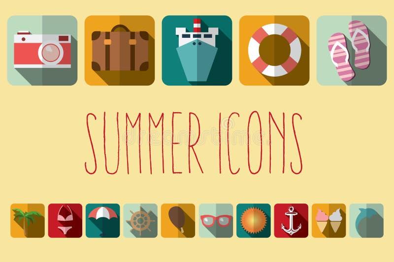 Iconos planos con la sombra larga, elementos de las vacaciones de verano del diseño stock de ilustración