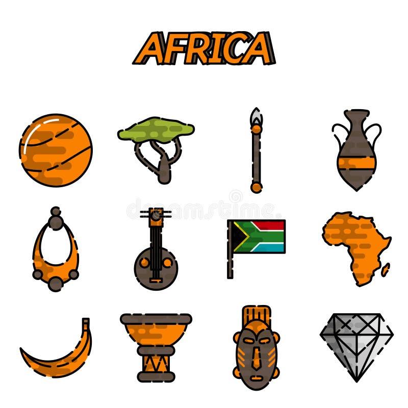 Iconos planos de África fijados stock de ilustración