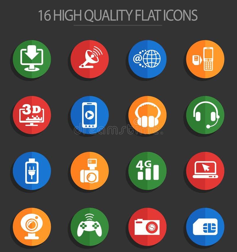 16 iconos planos de alta tecnología ilustración del vector
