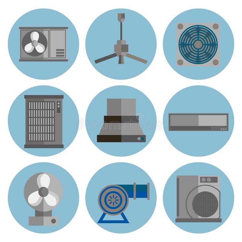 Iconos planos de condicionamiento del sistema fijados stock de ilustración