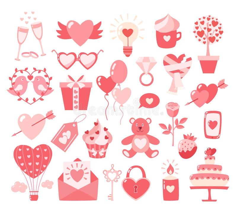 Iconos planos de día de San Valentín aislados en el fondo blanco Concepto del amor Elemento del diseño para el compromiso, despos stock de ilustración