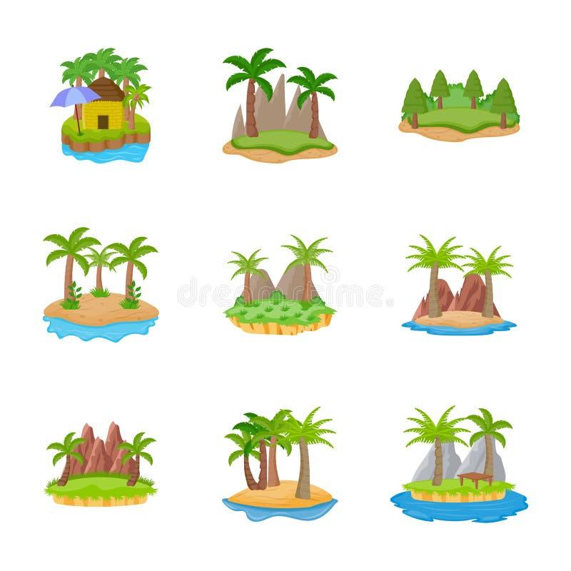 Iconos planos de diversas islas libre illustration