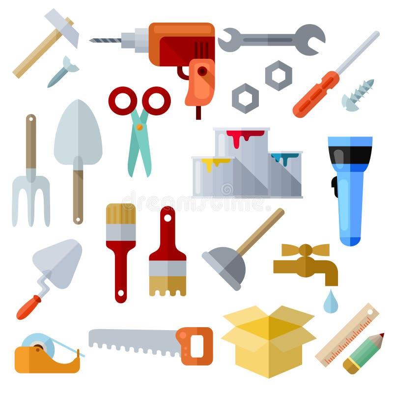 Iconos planos de diverso tema de la reparación en el fondo blanco stock de ilustración