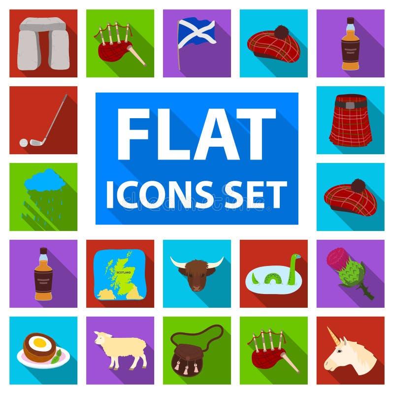 Iconos planos de Escocia del país en la colección del sistema para el diseño La visita turística de excursión, la cultura y la tr ilustración del vector