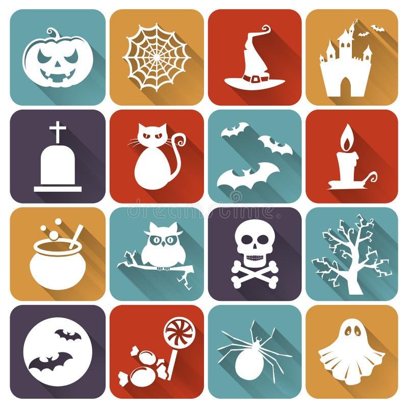 Iconos planos de Halloween Sistema del vector libre illustration
