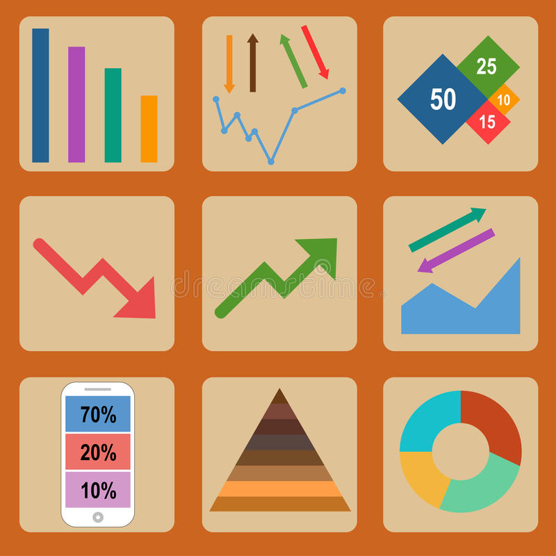 Iconos planos de Infographic imagen de archivo libre de regalías