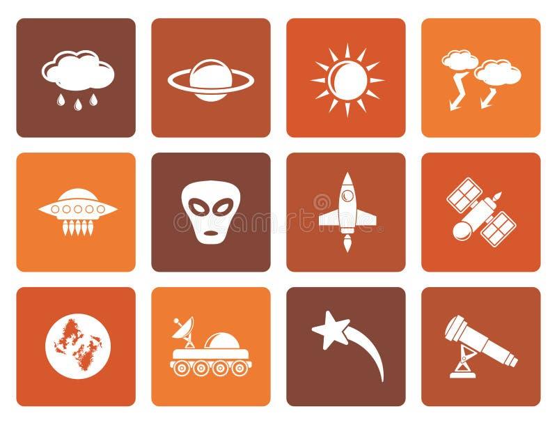 Iconos planos de la astronáutica y del espacio y del universo stock de ilustración