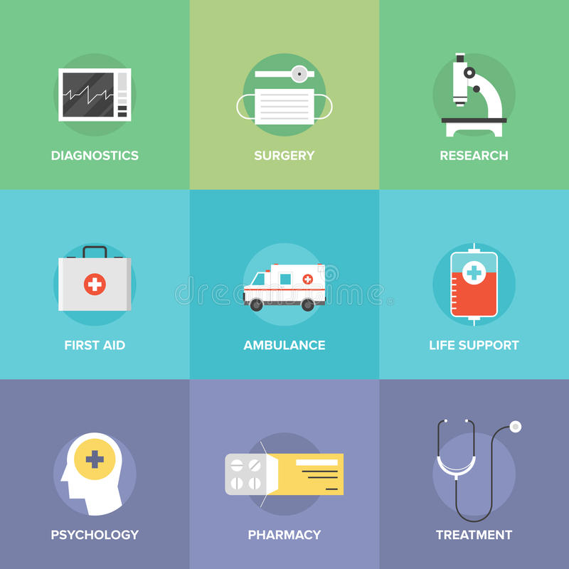 Iconos planos de la atención sanitaria y de la medicina libre illustration