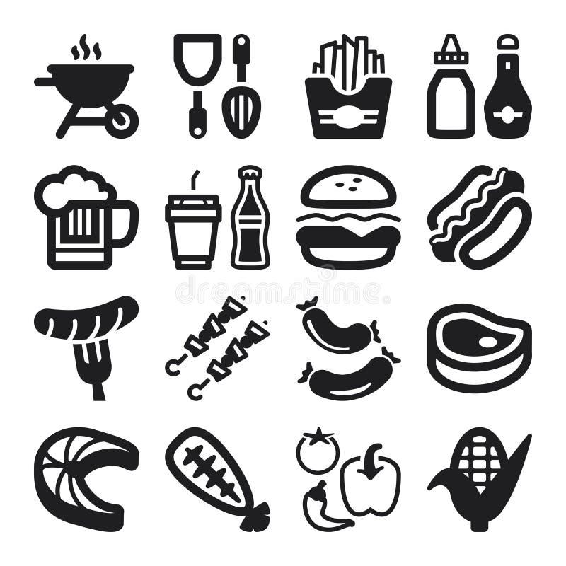 Iconos planos de la barbacoa stock de ilustración