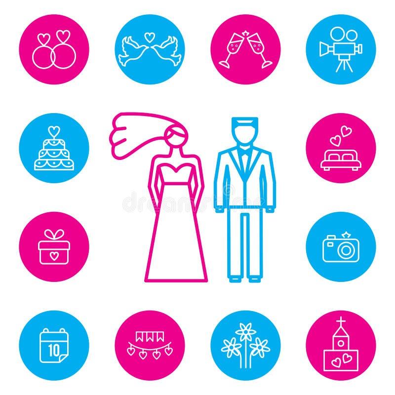Iconos planos de la boda, de novia y del novio fijados ilustración del vector