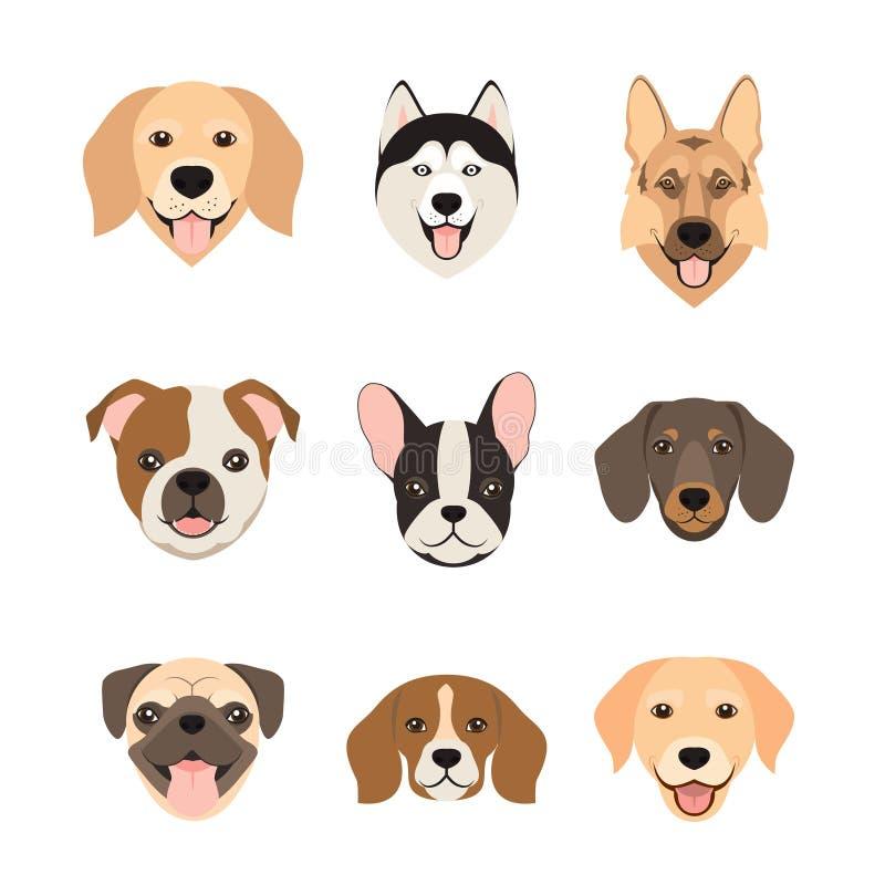 Iconos planos de la cabeza de perro del estilo Caras de los perros de la historieta fijadas Ilustración del vector aislada stock de ilustración