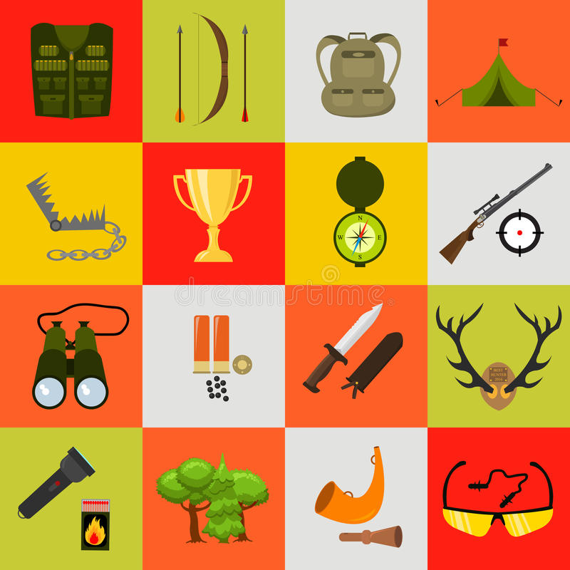 Iconos planos de la caza del color fijados Ilustración del vector Estilo de la historieta ilustración del vector