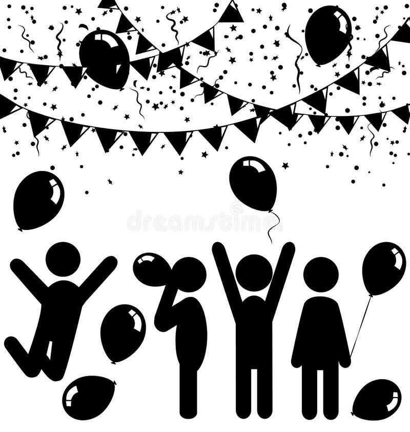 Iconos planos de la celebración con los balones de aire, el confeti y los empavesados stock de ilustración