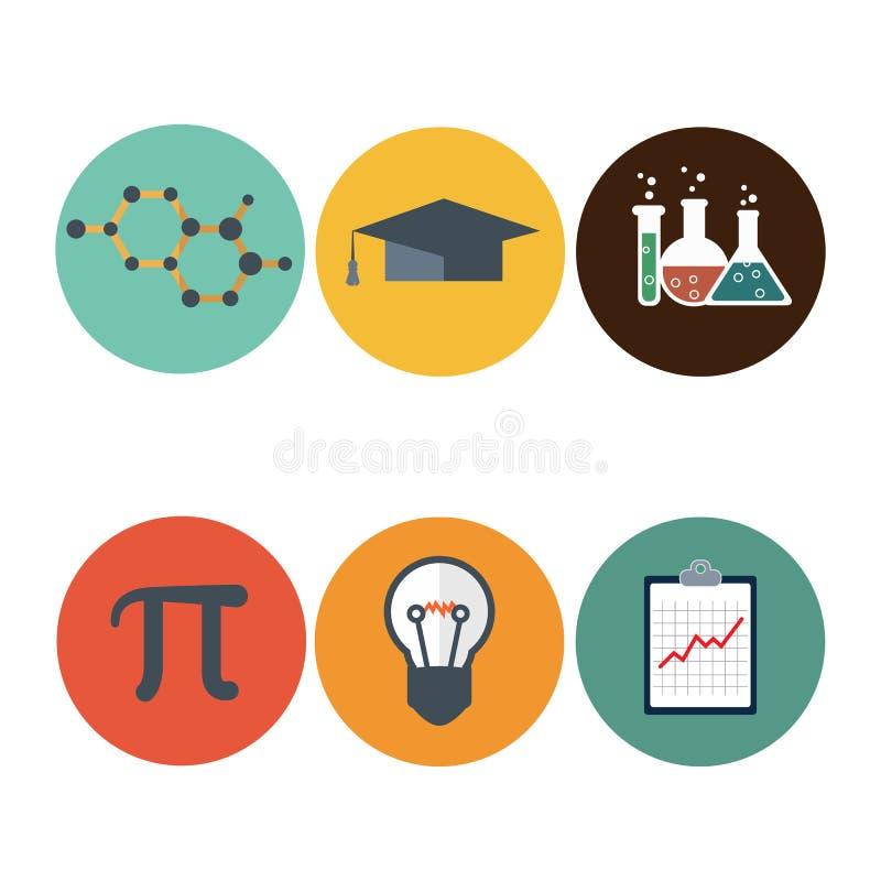 Iconos planos de la ciencia fijados DNA, átomo, microscopio, ico matemático del pi ilustración del vector