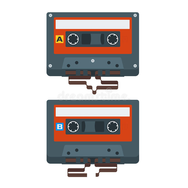 Iconos planos de la cinta de casete Ilustración del vector libre illustration