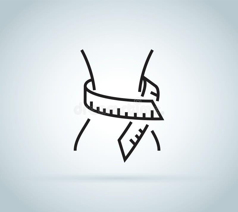 Iconos planos de la cintura Cuerpo delgado de la mujer de la aptitud con la cinta métrica W stock de ilustración