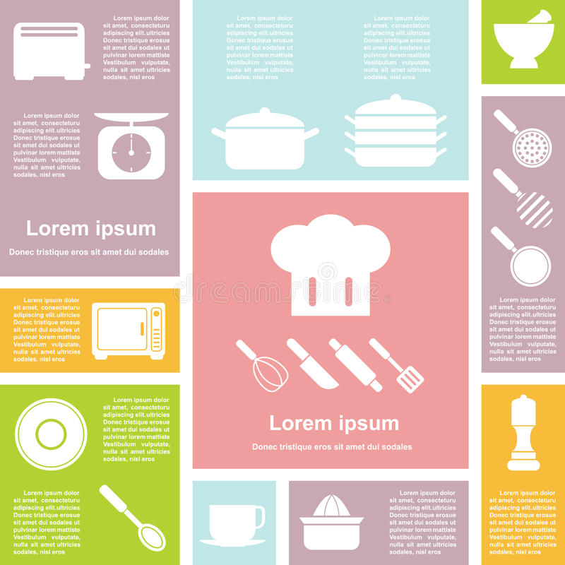 Iconos planos de la cocina del interfaz del diseño fijados stock de ilustración