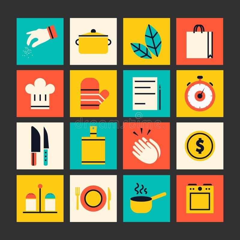 Iconos planos de la cocina y el cocinar stock de ilustración