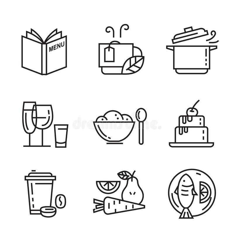 Iconos planos de la comida ilustración del vector