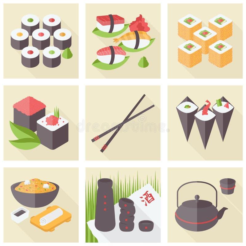 Iconos planos de la comida asiática fijados stock de ilustración