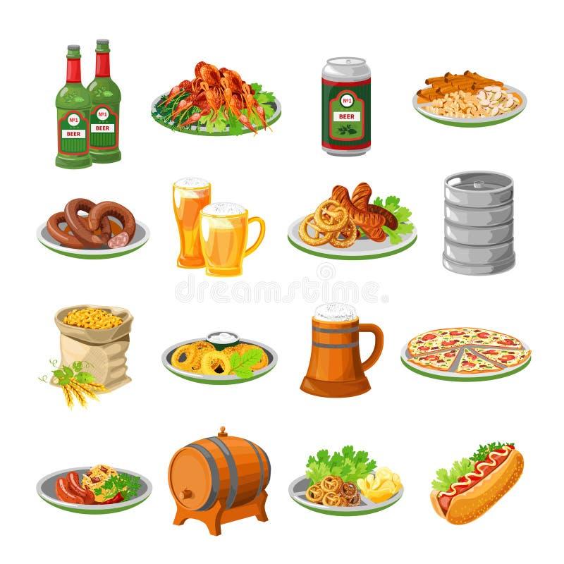 Iconos planos de la comida de la cerveza de Oktoberfest fijados ilustración del vector