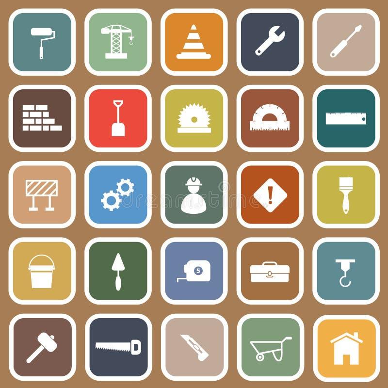 Iconos planos de la construcción en fondo marrón libre illustration