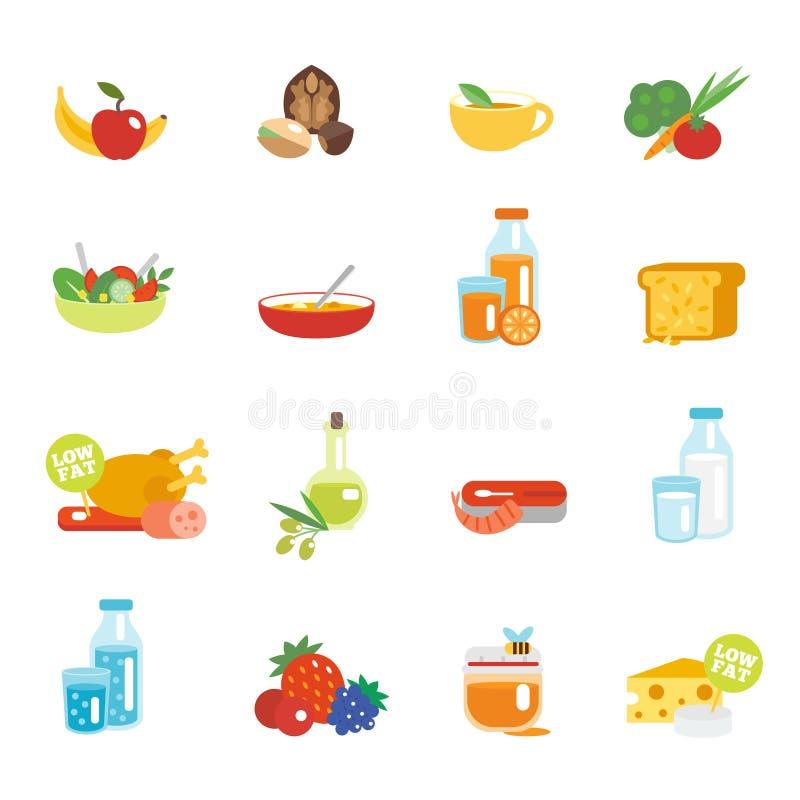 Iconos planos de la consumición sana ilustración del vector