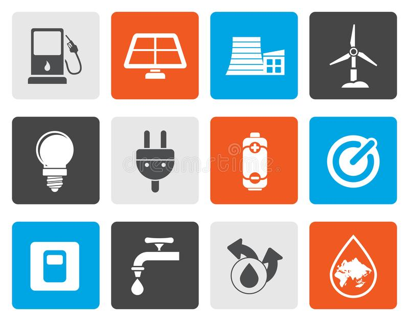 Iconos planos de la ecología, del poder y de la energía stock de ilustración