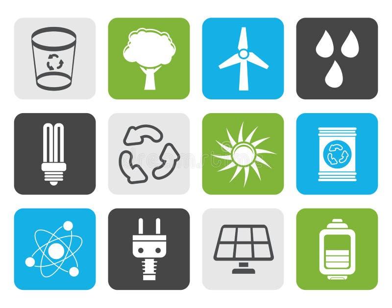 Iconos planos de la ecología, de la energía y de la naturaleza ilustración del vector