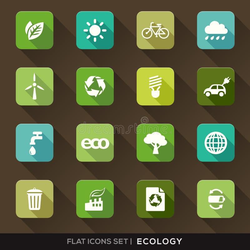 Iconos planos de la ecología fijados stock de ilustración