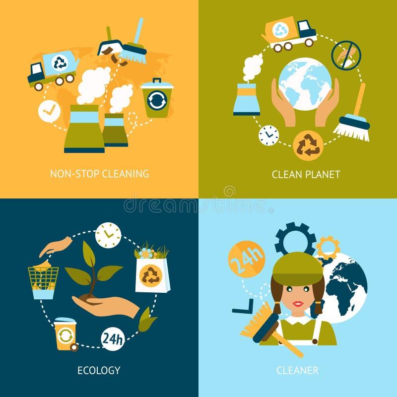 Iconos planos de la ecología fijados ilustración del vector