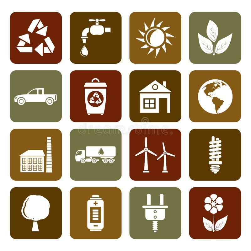 Iconos planos de la ecología y del ambiente stock de ilustración