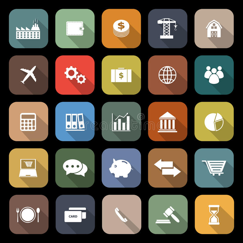 Iconos planos de la economía con la sombra larga stock de ilustración