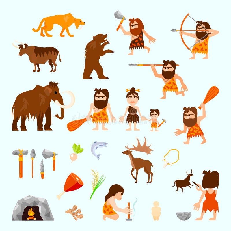 Iconos planos de la Edad de Piedra fijados libre illustration