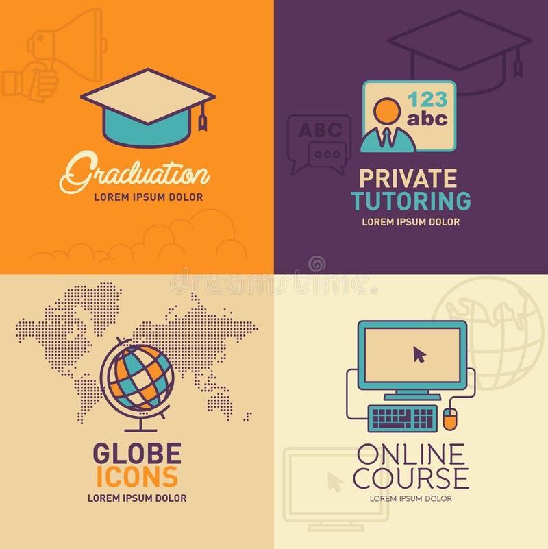 Iconos planos de la educación, casquillo de la graduación, profesor, globo con el mapa del mundo, icono en línea de la educación libre illustration
