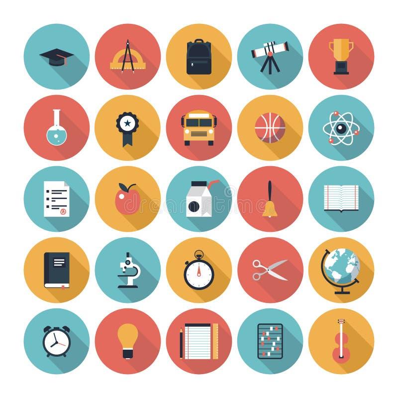 Iconos planos de la educación fijados ilustración del vector