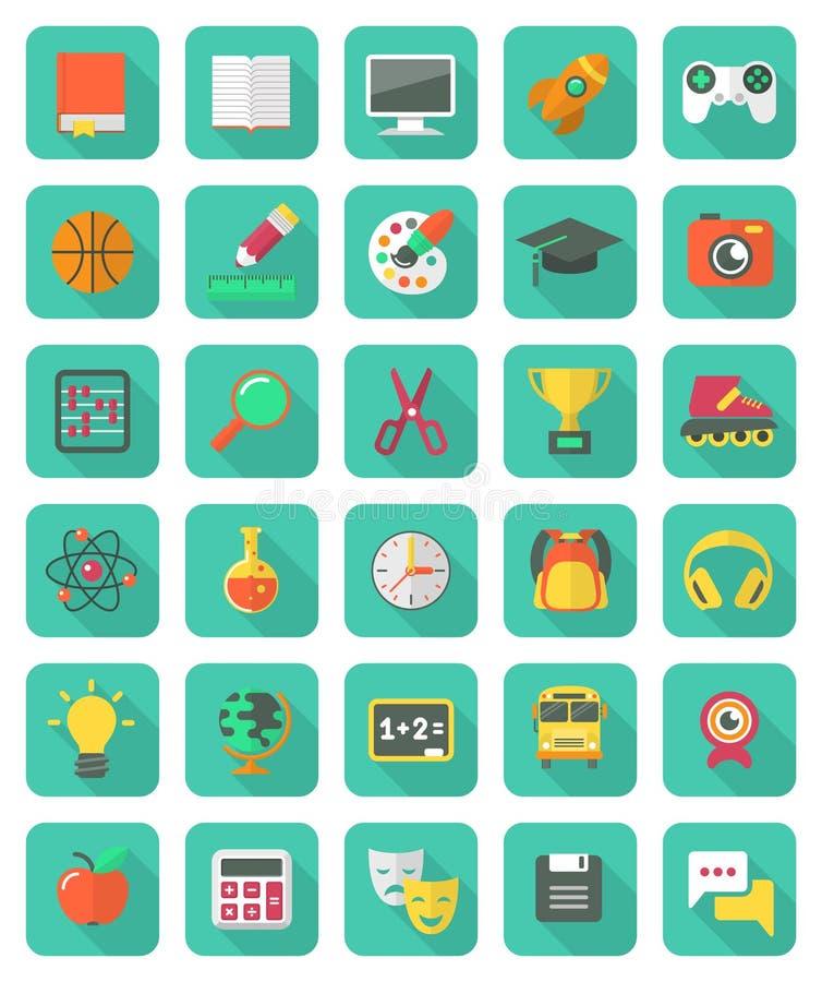 Iconos planos de la educación y del ocio fijados stock de ilustración