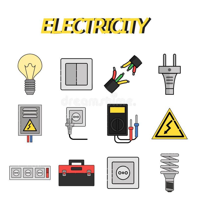 Iconos planos de la electricidad fijados stock de ilustración