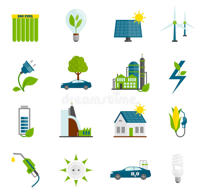 Iconos planos de la energía de Eco ilustración del vector