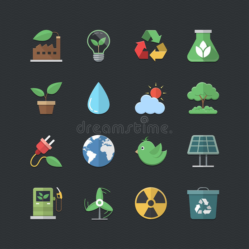 Iconos planos de la energía de Eco del estilo del color fijados stock de ilustración