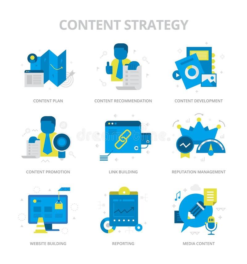 Iconos planos de la estrategia contenta libre illustration
