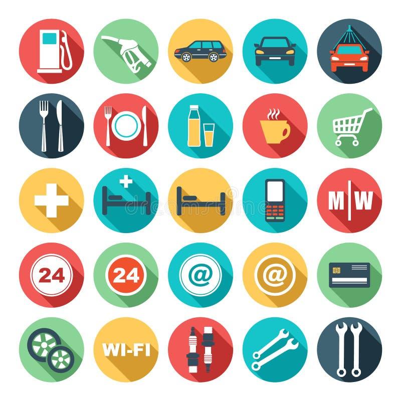 Iconos planos de la gasolinera stock de ilustración