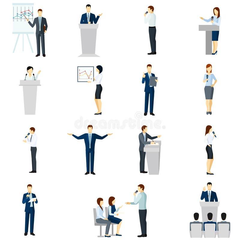 Iconos planos de la gente del discurso público fijados ilustración del vector