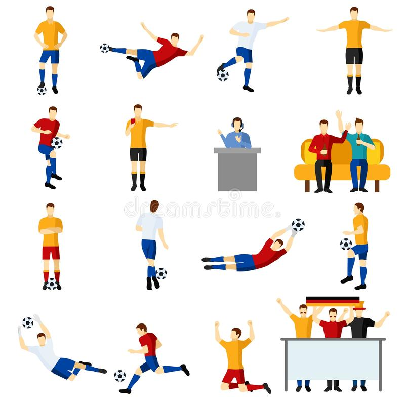 Iconos planos de la gente del juego de fútbol fijados libre illustration